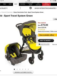 Graco Fast Action Fold - Sport Travel System Green Reduced to £75 online at Asda from £300 75%off