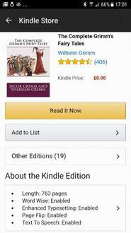 The Complete Grimm's Fairy Tales Free @ Kindle Amazon