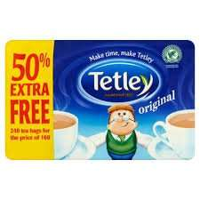 Tetley tea bags 160 + 50% extra free = 240 for £2.50 @ Iceland