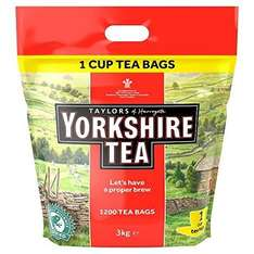 Yorkshire Tea 1200 One Cup Tea Bags 3kg for £21.47 @ Amazon