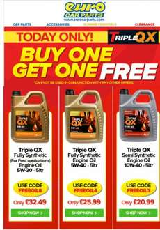 Today ONLY, selected Engine Oil BOGOF £20.99 @ Euro Car Parts