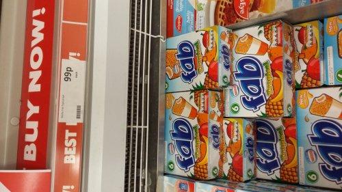 Pack of 6 fab Ice lollies heron foods 99p instore
