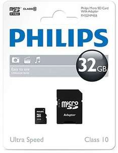 Philips Micro SD SDHC Memory Card Class 10 with Full Size SD Adapter - 32GB £9.39 @ 7dayshop
