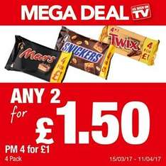 Mars / Snickers / Twix 4pk any 2 for £1.50 @ Premier Stores