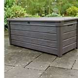 Keter wood effect plastic garden storage 454ltr was £114 now £60 at B&Q