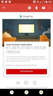 Google play £1.49 for any movie rental (offer came via email)