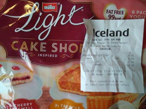 6x Muller light Cake shop inspired for 75p in Iceland