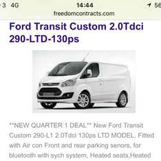 Ford Transit Custom Lease (BUSINESS) - from £179.99/month @ Freedom Vehicle Contracts