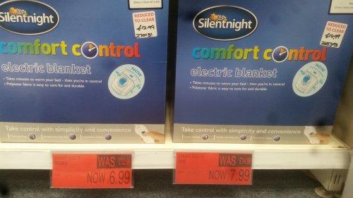 Silentnight Comfort Control Electric blankets £6.99 instore @ B&M