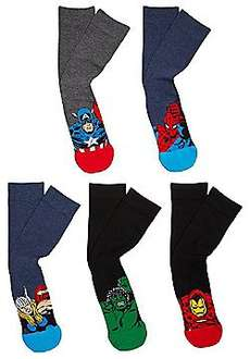 Marvel 5 Pair Pack of Character Socks (Adult sizes - 6 to 8 1/2 or 9 to 12) £4.00 click n collect at Tesco.