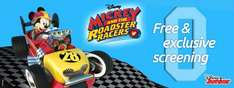 Free showing of Mickey and the roadster racers at participating odeons on the 25th/26th March at 10.40