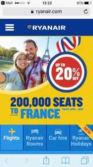 Ryanair - 200000 seats up to 20% to france