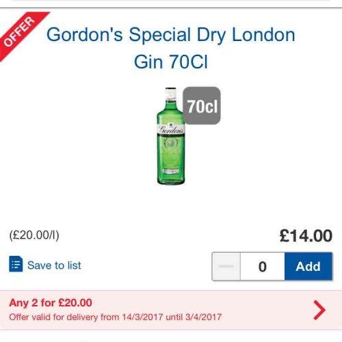 Gordon's gin 70Cl 2 bottles for £20 available from Tesco