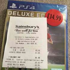 Fifa 16 Deluxe Edition - £5 Sainsbury's PS4