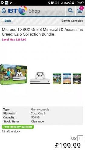 Xbox one s bundle £199 @ Bt shop