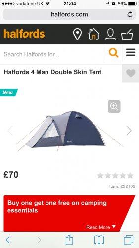 BOGOF 4 man halfords tent £70 @ Halfords