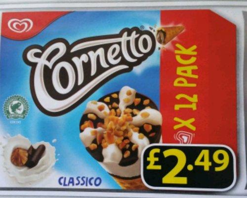 12 pack Cornetto Classico for £2.49 instore @ Farmfoods
