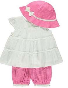 3 lovely baby Piece Top, Bloomer And Hat Set £5 was £10 @ Asda george free c&c