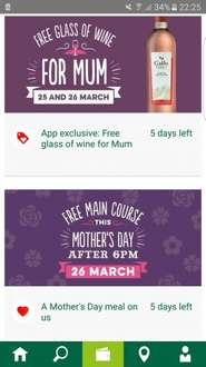 Harvester - free main course for Mums on mothers day after 6pm via the app