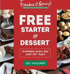 Free starter or dessert with every main course all day every day until 30th April - Potentially a main and a dessert for £6.45! @ Frankie and Bennys