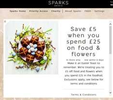 Save £5 When You Spend £25 On Food & Flowers @ Marks and spencer - sparks card holders