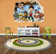 PAW PATROL smashed wall stickers - 3D bedroom boy and girls mural decal wall art Size: Large 75 cm X 55 cm - £9.99 (Prime) Sold by PrintNowUK and Fulfilled by Amazon