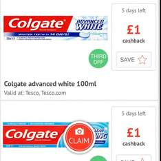 Colgate toothpaste only 2 for £3 :  £1 on both back via checkout smart instore @ Tesco