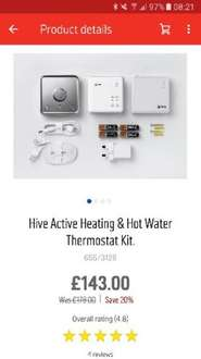 Hive Active Heating + Hot Water £143 ARGOS (20% off all Hive Products)