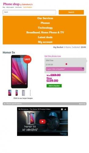 Honor 5x Grey £139 -  Phoneshop by Sainsbury's