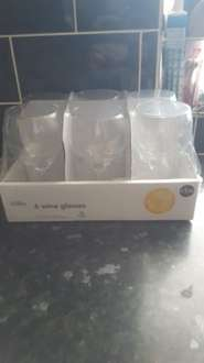 pack of 6 wine glasses from 38p  asda