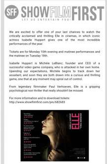 showfilmfirst Elle free tickets 10th & 11th April