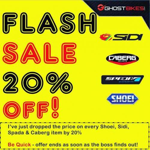 Massive Flash Sale 20% Price Drop on Shoei, Sidi, Spada and Caberg Motorcycle Clothing & Helmets