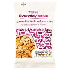 Tesco value roasted and salted cashew nuts - 75p