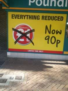 Hatfield High Street Poundland Everything 90p Pence instore
