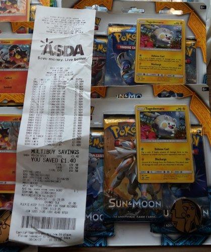 Pokemon Sun & Moon 3 Pack Blister - Litten - Triple Booster £3.50 instore @ Asda (Long Eaton)