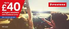 Upto £40 Argos voucher when you buy Firestone fitted tyres at Halfords