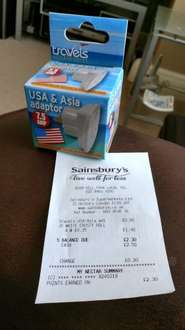 Travel Adapters from UK to USA or Europe 90p @ Sainsburys Enfield