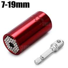 Universal Socket Adapter with Power Drill Kit  -  7 - 19MM  RED £3.88 @ Gearbest