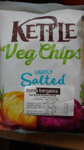 Kettle Veg Crisps 125g in Home Bargains 69p. instore