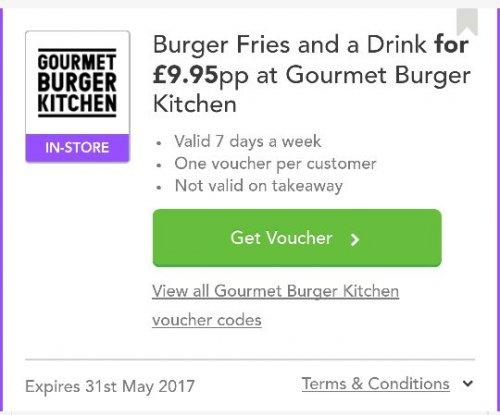 6oz Burger, fries and drink £9.95 instore - GBK (Gourmet Burger Kitchen) with voucher