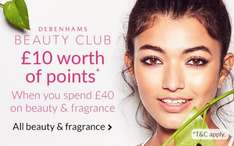 £10 Worth of points when you spend £40 across beauty and fragrance which includes the sale items/ 30% off home & garden items @ Debenhams