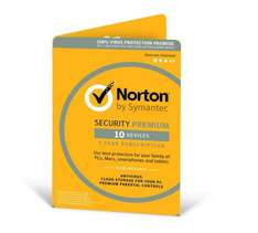 Norton Security Premium 3.0 - 25GB, 1 User, 10 Devices, 12 Months License Card (PC/Mac) - £21.99 From Amazon.co.uk