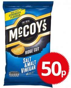 McCoys salt and vinegar, cheese and onion and steak 6 pack just 50p rrp £1 @ poundstretcher