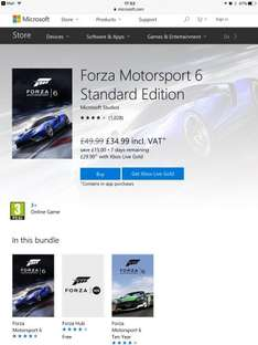 Offer Ended! Forza Motorsport 6 £34.99 or with Xbox Live Gold £29.99 at Microsoft