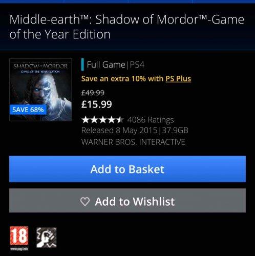 Shadow of Mordor GOTY £10.99 @ PSN