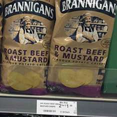 Brannigans Roast Beef and Mustard / smoked ham and pickle crisps, 2 multi-packs for £1.50 in Farmfoods.