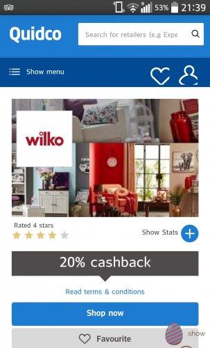 20% Cashback at Wilko online via Quidco