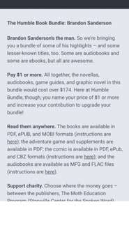 Humble Book Bundle: Brandon Sanderson (pay what you want and help charity)