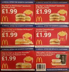 McDonalds Discount Vouchers From WHSmiths [Big Mac or McChicken Sandwich & Medium Fries £1.99 / Fillet-O-Fish or 6 Nuggets & Medium Fries £1.99 + More]
