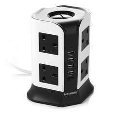 Safemore 8 Way UK plug Outlet Socket 4 USB Charging Ports Max 2500W 2M Extension Lead Power Strip Adaptor £18.99 Prime / £23.74 Non Prime @ Amazon